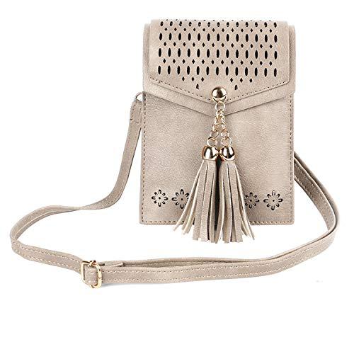 (seOSTO Women Small Crossbody Bag, Tassel Cell Phone Purse)