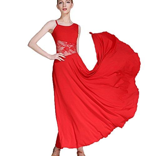 Valzer Cavo S Obliquo Balli Di Sala Maniche Costume Senza Colletto Ballo Wqwlf Pratica Da Pizzo Per Moderni Red Abiti Donne xxl wO7UqU