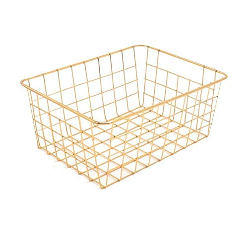 Womdee Wire Metal Storage Basket, Satin Nickel Organizer Bin for Office Supply Organizer, Desk Tray, Bathroom, Laundry Room, Shelf, Bedroom Etc - 11