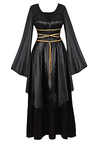 Famajia Womens Halloween Role Cosplay Dress Deluxe Medieval Renaissance Irish Over Victorian Retro Gown Costumes Black 2X-Large