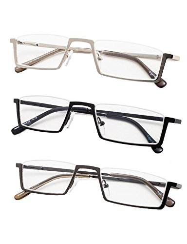 3-Pack Half-Rim Reading Glasses with Spring Hinges +4.0