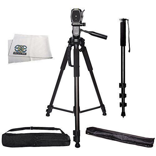 SSE PRO 72-Inch 3-Way Panhead Tilt Motion Built in Bubble Leveling Tripod with Soft Carrying Case and Monopod for DSLR Cameras