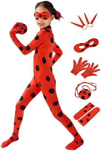 DAZCOS Child Size Marinette Costume Black Spot Red Jumpsuit with Headwear