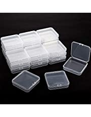 24 Packs Small Clear Plastic Beads Storage Containers Box with Hinged Lid for Storage of Small Items, Crafts, Jewelry, Hardware