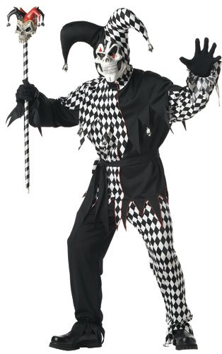 California Costumes Men's Adult- Black Evil Jester, Black/White, XL (44-46) Costume (Male Halloween Costumes Party City)