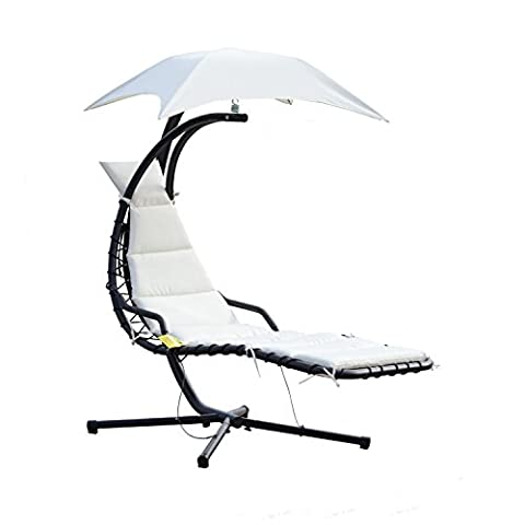 Cream White Air Porch Swing Relaxation Canopy Hanging Chaise Lounge - 0 White Camber