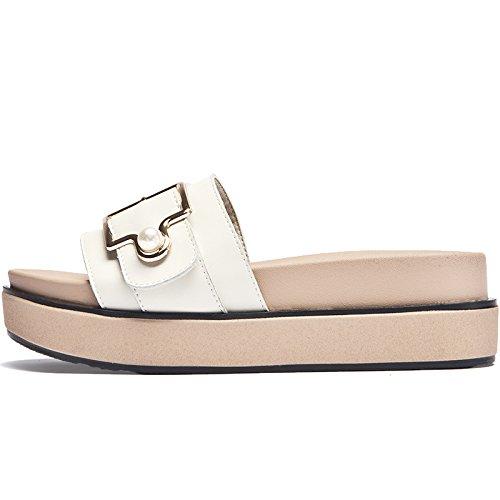 alta tiras Flip Flip de sandalias verano moda Plataforma al Señoras libre de nuevo cuña de SOHOEOS aire señoras Dreamgirl Flop Flop Mule Beige FqHnP