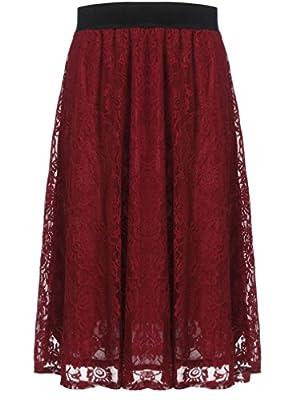 Halife Women Vintage Elegant High Waisted Floral Lace Pleated Midi Skirt