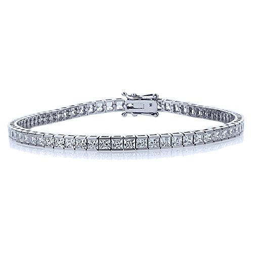 Channel Set Bracelet - Sterling Silver Rhodium Plated 2.5mm 6.8 ct.tw Princess CZ Channel Set Tennis Bracelet