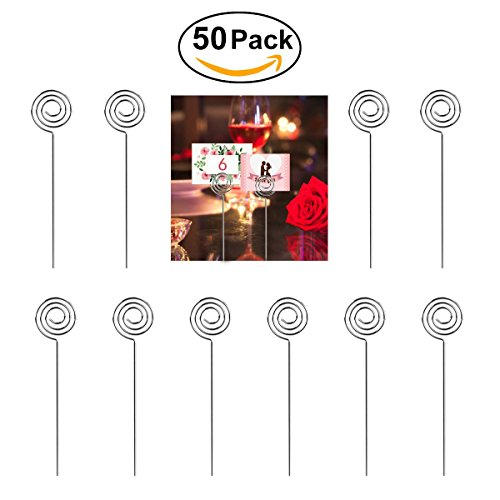 50pcs Metal Wires Photo Card Picture Memo Note Clip Holders - 2