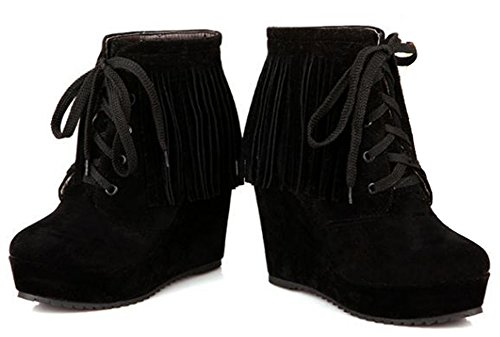 IDIFU Womens Casual Tasseled Fringes Wedge Platform Lace Up Ankle Boots Booties High Heels Black OcwXmLWX