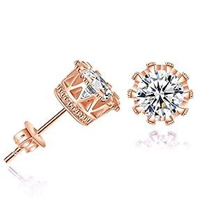 DDLBiz Women Jewelry Simple Fashion Diamond Crown Stud Earrings (Rose Gold)