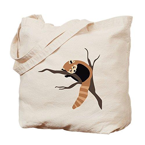 CafePress gamuza de–Sleepy Panda rojo–lona bolso, bolsa de la compra Small caqui