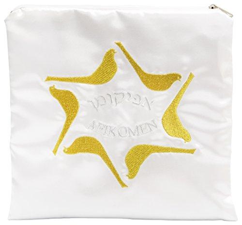 The Dreidel Company Afikoman Bag Satin - White Afikomen Bag for You Matzos, Silver and Gold Embroidery