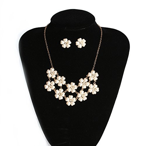 VK Accessories Cute Flower Necklack Earrings Set Womens Girls Children Fashion Necklace 4 Colors