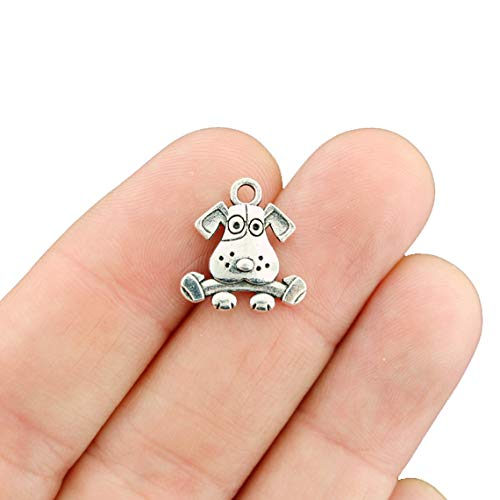 12 Dog with Bone Charms Antique Silver Tone 2 Sided Adorable – SC5102