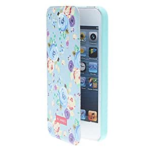 GHK - Quality Design Dream Blue Rose Pattern Smart Full Body Case with Matte Back Cover for iPhone 5/5S