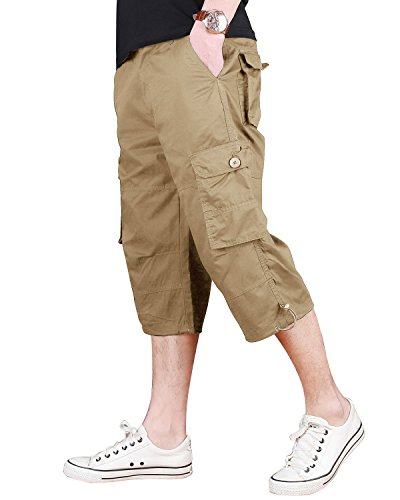 CRYSULLY Young Mens Shorts Spring Relaxed-fit Cotton Woodland Army Short Cargo Pant Utility Cargo Shorts Khaki