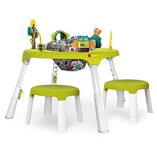Oribel PortaPlay Forest Friends 4-in-1 Foldable Activity Center, Turn, Bounce, Play with Easy Clip-On Toys and Matching Stools in Green by Oribel PortaPlay