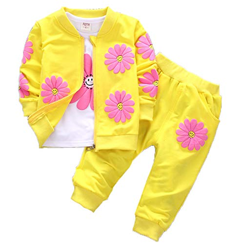 Baby Girls Flowers Print 3 Piece Sets T Shirt Vest and Pants (2-3Years, - Infants Piece Sweatsuit 2