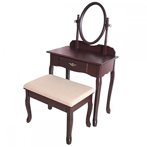 Cherry Wood Vanity Drawer & Mirror Dressing Table Jewelry Makeup Set by FDW