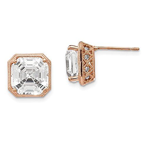 10K Rose Gold Asscher Cut Cubic Zirconia Solitaire Stud Earrings (Asscher Stud)
