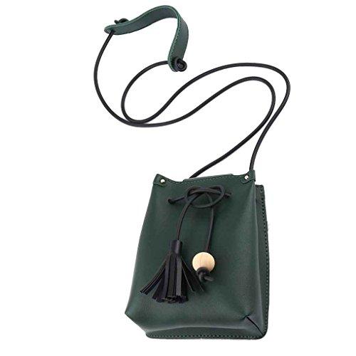 Republe Cuero de la PU del lazo del cucharón bolsos del teléfono móvil bolsa de mujer de chicas Mini borlas hombro Crossbody de paquetes verde