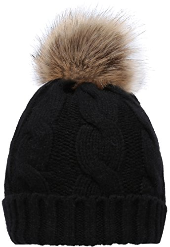 NEOSAN Women's Winter Ribbed Knit Faux Fur Pompoms Chunky Lined Beanie Hats Twist Black