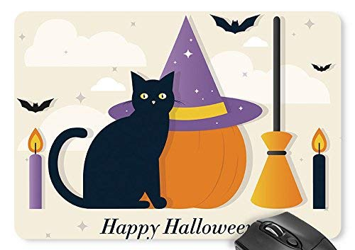 (BGLKCS Halloween Black Cat Pumpkin Witch Hat Broom Candle Bat English Moon Stars Clouds Mouse Pad 11.8×9.8 inches Game Mouse Mat D0724524)
