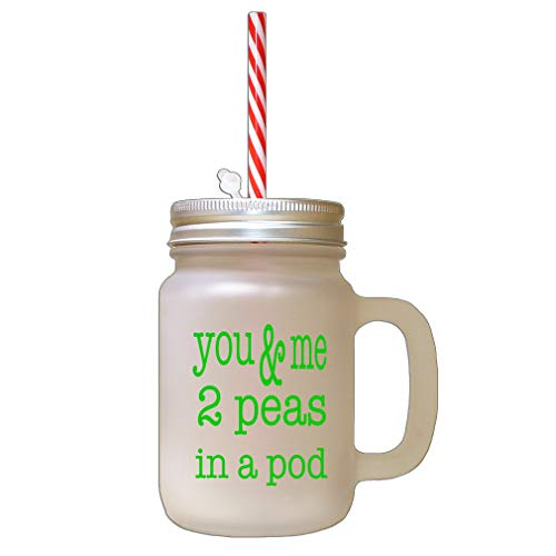 Green You &Me 2 Peas in A Pod Frosted Glass Mason Jar with Straw