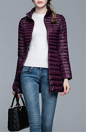 H Outerwear Lightly Down Red4 Slim Front Puffer Zipper Womens amp;E Plain Coats pSqrzp
