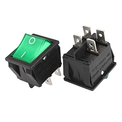 uxcell 5Pcs AC 20A/125V 22A/250V DPST 4 Pin 2 Position I/O Green Light On Off Button Illuminated Boat Rocker Switch