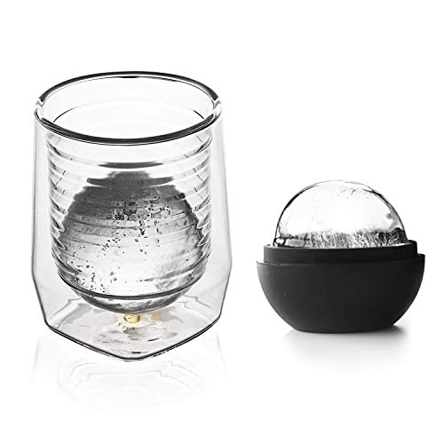 Aged & Ore Duo Glass: The Hand Blown Cocktail and Whiskey Glass with Integrated Measuring | Included Ice Ball Mold