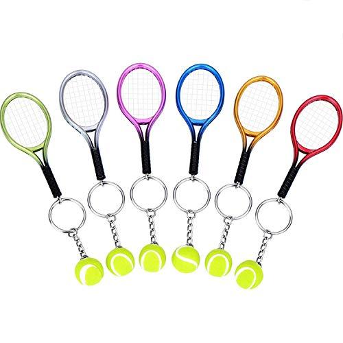 BBTO 6 Pieces Tennis Racket Keychain Key Rings Metal Tennis Ball Split Ring, 6 Colors