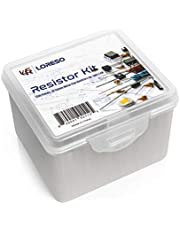 LORESO Resistor Assorment Kit Box - Case of 1200 Pieces 38 Value 1/4W 1% Metal Film Resistor Pack ROHS Compliant 0 to 1M Ohm Common Resistors for Hobby Electronics, Audio-Video Electronic DIY Project