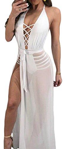 L'été Licol Des Femmes Sexy Cromoncent Voir À Travers La Dentelle En V Profond Jusqu'à Clubwear Fente Blanche Robe Longue