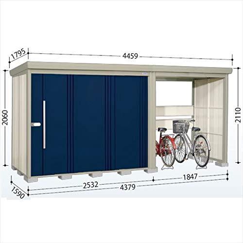 タクボ物置 TP/ストックマンプラスアルファ TP-S43R15 多雪型 標準屋根 『駐輪スペース付 屋外用 物置 自転車収納 におすすめ』 ディープブルー B07MV1RWW4