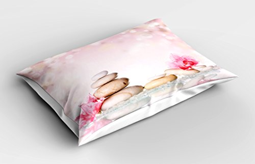Ambesonne Spa Pillow Sham, Bohemian Zen Stones and Soft Petals Therapy Tradition Chakra Yoga Asian Picture, Decorative Standard Size Printed Pillowcase, 26 X 20 inches, Light Pink Peach by Ambesonne (Image #1)