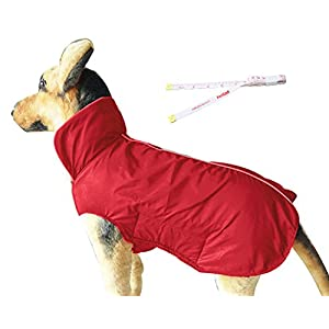 PetCee Waterproof Small Dog Jacket Fleece Lined Reflective Loft Dog Coat Climate Changer Fleece Jacket Easy On and Off (Red S)