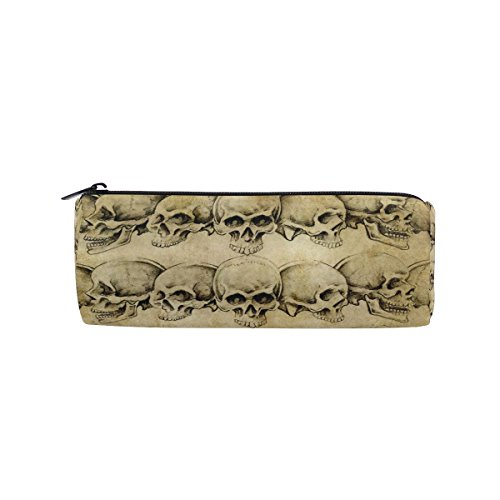 WOZO Retro Sugar Skull Halloween Art Pen Pencil Case Makeup Cosmetic Pouch Case Travel Bag -