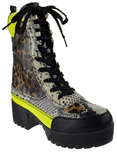 Bambo Powerful 06S Womens Chunky Heel Platform Lug Sole Military Combat Boots Leopard Snake 10