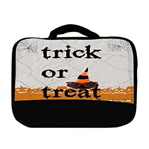 Trick or Treat Halloween Fun Wizard Hat with Sunglasses Pumpkins & Spiderwebs Design Canvas Lunch Bag by Trendy Accessories