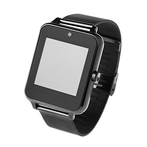 Redriver Multi-Language Bluetooth Smart Watch with Metal Strap for Android iOS (Black) by Redriver