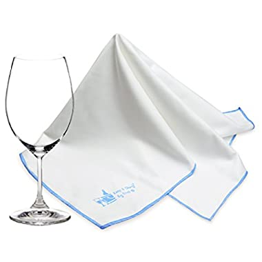 Extra Large Microfiber Glass Polishing Cloth (2-Pack) by Trendy Bartender - 25x20 inch Premium Lint Free Cleaning Cloth For Stemware etc - Bar Towel For Spotless Results - Premium Quality (White)
