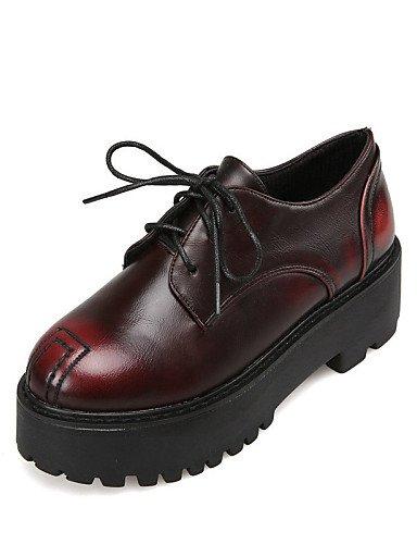 ZQ hug Zapatos de mujer - Plataforma - Punta Redonda - Tacones - Casual - Semicuero - Negro / Plata / Bermellón , silver-us8 / eu39 / uk6 / cn39 , silver-us8 / eu39 / uk6 / cn39 silver-us8 / eu39 / uk6 / cn39
