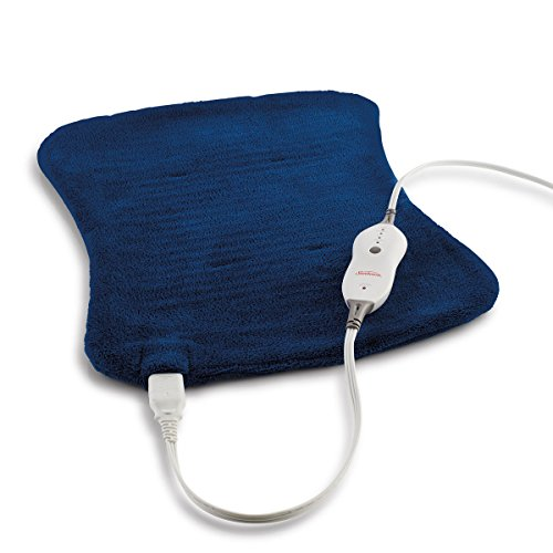 Sunbeam Heating Pad for Fast Pain Relief | XpressHeat Hourglass-Shaped Pad, 4 Heat Settings with Auto-Shutoff | Newport Blue, 12-Inch x 20-Inch