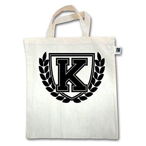 Anfangsbuchstaben - K Collegestyle - Unisize - Natural - XT500 - Jutebeutel kurzer Henkel