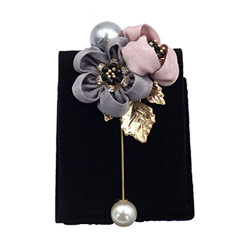 - ALISHA BRYANT Ladies Cloth Art Pearl Fabric Flower Brooch Pin Shirt Shawl Pin Coat Badge Jewelry Accessories,G5