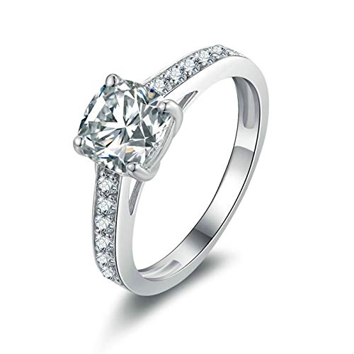 Aooaz Jewelry Wedding Ring Silver Material 4 Prong Silver Ring for Women Anniversary Rings US Size -