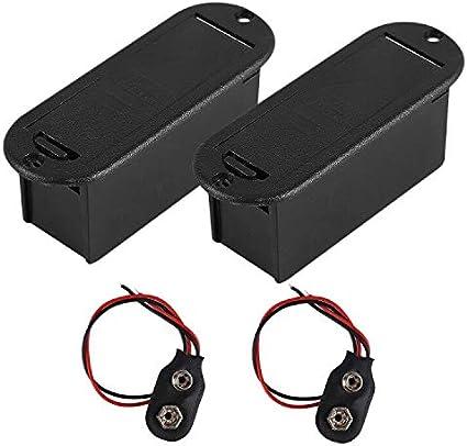 E-outstanding 9V Battery Box 2PCS Black Plastic Vertical 9V Battery Holders Cases Boxs For Guitar Bass Pickup